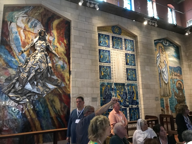 Artwork inside Church of Annunciation in Nazareth, Israel