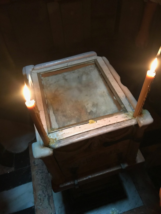 This stone is one of the original stones from the Tomb of Jesus
