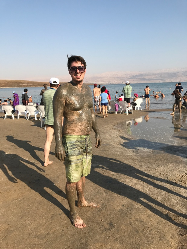 Waiting for that Dead Sea mud to dry. It took about 45 minutes because I put so much on!