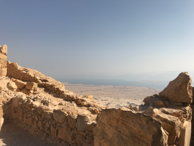 Looking at the Dead Sea from atop Masada